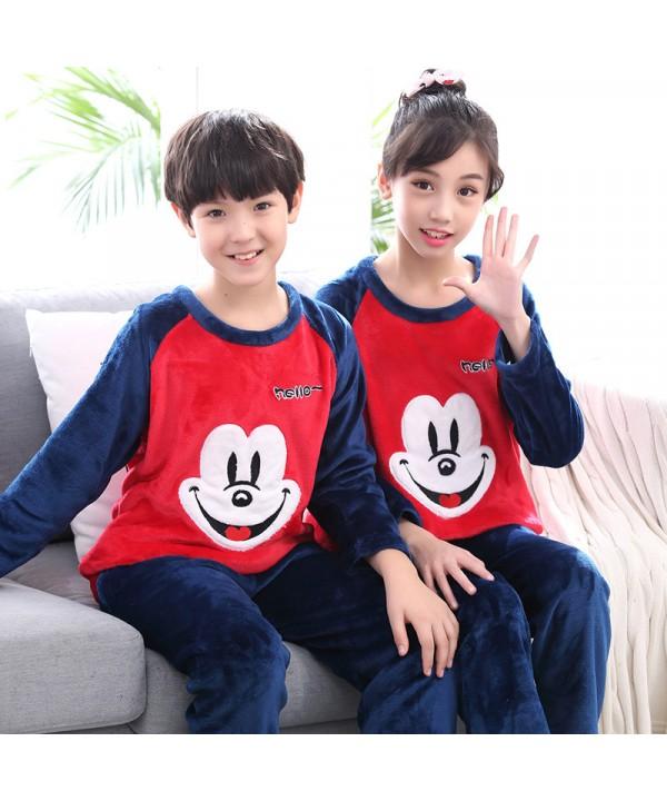 New flannel children pajamas set soft pjs set for spring