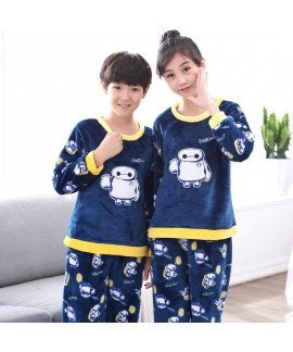 New flannel children pajamas set soft pjs set for ...