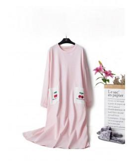 Women Soft Cotton Nightgowns Long Sleeve O Neck Ca...