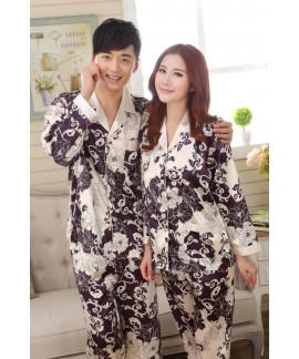 Cheap long sleeve couple new silk like pajama sets...