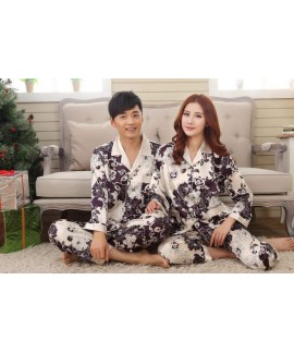 Cheap long sleeve couple new silk like pajama sets comfy set pjs for male and female