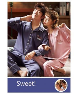 Korean version Couple pajamas long sleeves mens an...
