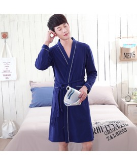Cozy Bath Waffle Long Sleeve Cotton Night Wear Large Size Navy Nightgown For Men