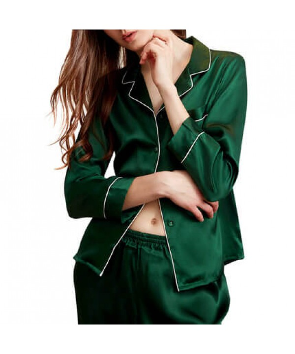 Ladies sexy mulberry silk pajamas for spring long sleeves ladies silky nightwear for outdoor wear