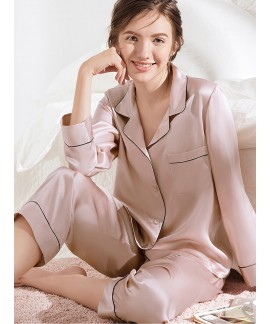 Ladies sexy mulberry silk pajamas for spring long ...