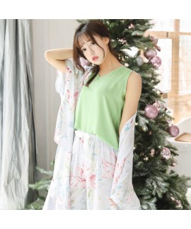 Long-sleeved Retro-style Blown-out Women's Leisure Cotton and Silk Three-piece Sleepwear