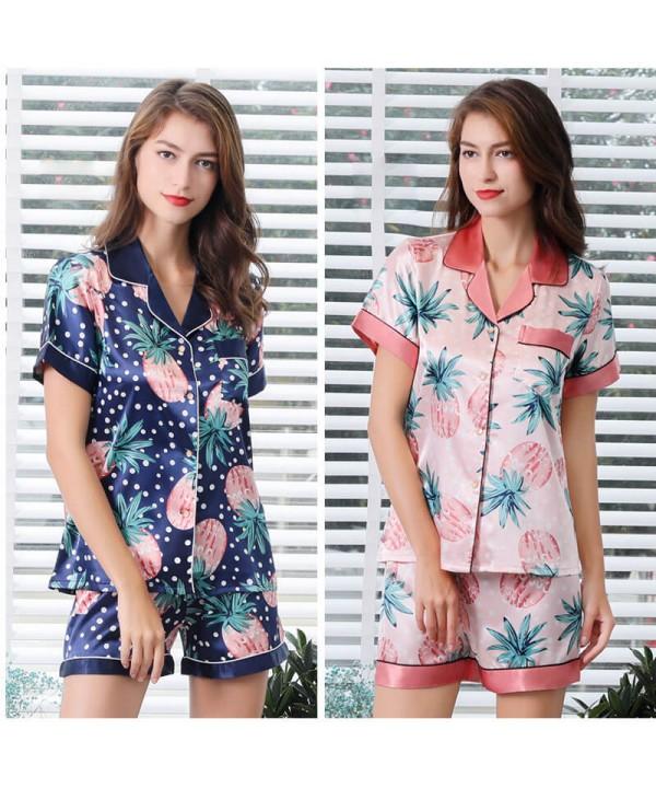 Women Pink Ice Silk Sleepwear Set For Summer Simulated silk pajama female