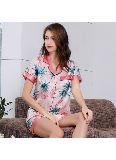 Women Pink Ice Silk Sleepwear Set For Summer Simulated silk pajama female