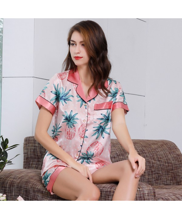 Women Pink Ice Silk Sleepwear Set For Summer Simul...