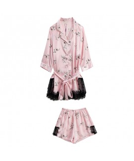 Ice Silk Sexy Five-piece set simulated Silk Sleepwear