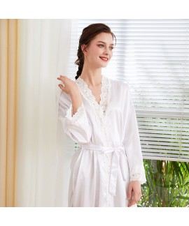 Long-sleeved Ice Silk Nightgown lace morning gown simulated silk bathrobe for women