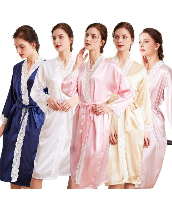 Long-sleeved Ice Silk Nightgown lace morning gown ...