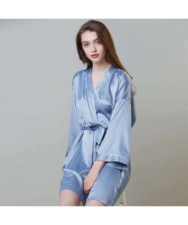 Simulated Silk Sleepwear For Summer Mid-long Sleeve Morning Dress Ice Silk Bathrobe