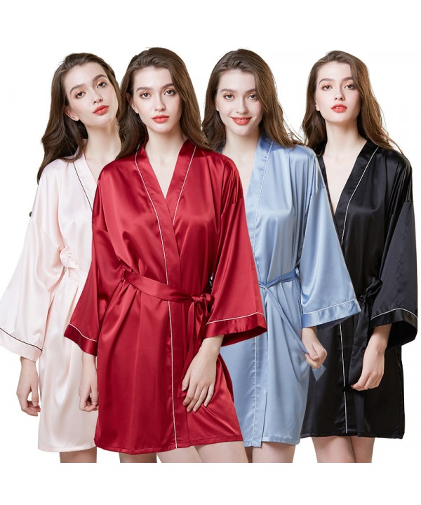 Simulated Silk Sleepwear For Summer Mid-long Sleev...