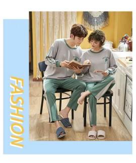 Korean cartoon couple long sleeve cotton men and women casual suit pajamas home service