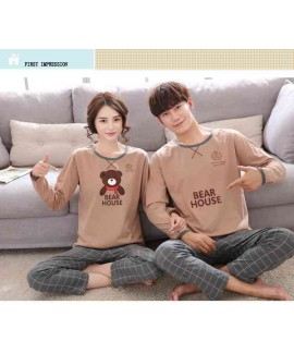 Korean cartoon couple long sleeve cotton men and w...