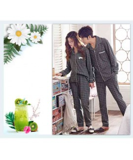 Cotton long-sleeved cardigan plaid casual home wear couple pajamas set