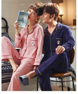 Korean Couple Lapel Pajamas Long Sleeve Cotton Car...
