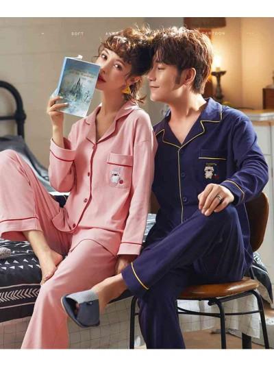 Korean Couple Lapel Pajamas Long Sleeve Cotton Cardigan Home Service Pajamas Set