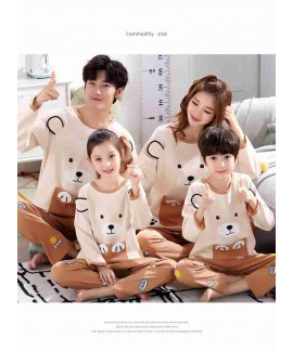 long-sleeved cute cartoon parent-children family p...