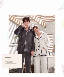 Flannel cute thick warm suit coral fleece men and women couple pajamas home clothes