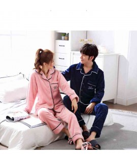 new couple flannel Korean long-sleeved men's and w...