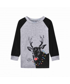 Hot Sale Christmas American & European Style Antler Print Stripe parent-child pajamas set