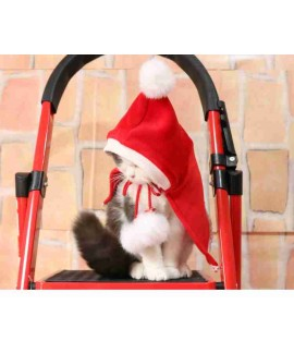 New Year Christmas Teddy pet cat and dog fleece red hood cape costume