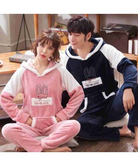 Coral fleece with hat thickened couple flannel paj...
