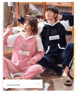 Coral fleece with hat thickened couple flannel pajamas set