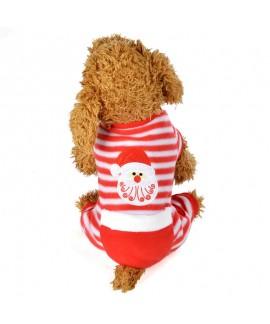 Pet Clothes Christmas Day Dress Four-Piece Striped...