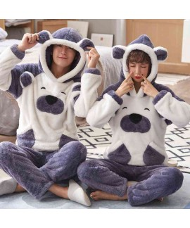 Cartoon hooded long coral fleece long sleeve flann...