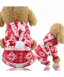 New Christmas Red Elk Festive Warm Universal Plus Velvet Flannel Pet Pajamas