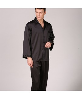 Large Size Men's Ice Silk Nightwear For Summer Long Sleeve Pure Color Pajama Set