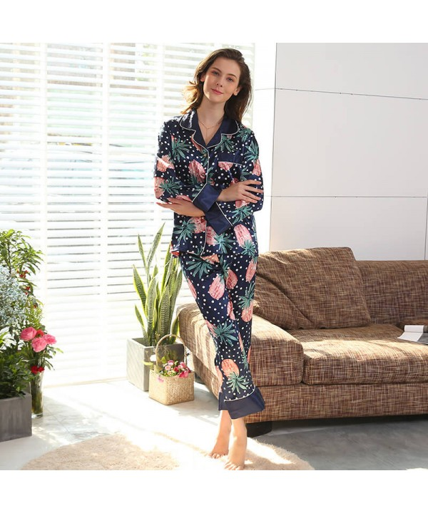 Ladies Ice Silk Printed Nightwear Long Sleeve Pineapple sleepwear set