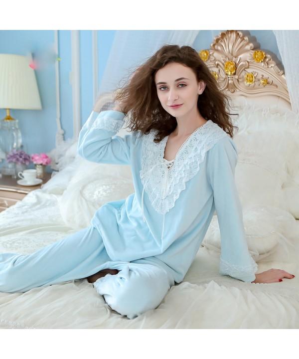 long sleeved Women's home wear warm flannel pajama...