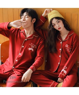 Plus size couple cotton pajamas for spring long sl...