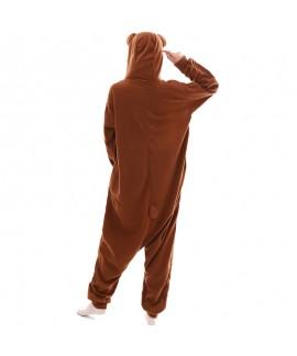 Brown bear animal cartoon one piece pajamas long sleeve fleece couple pajamas in autumn and winter