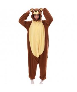 Brown bear animal cartoon one piece pajamas long s...