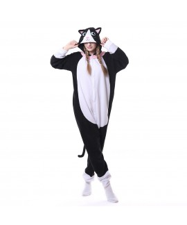 Polar fleece white face black cat animal cartoon one piece pajamas long sleeve couple onesies for autumn and winter