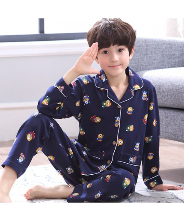 Comfy sleepwear boys set of pajamas for spring Cheap cotton children home pyjamas
