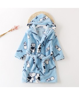 New children's flannel pajamas and robe sets soft ...