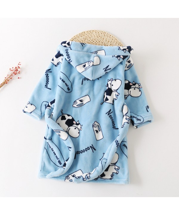 New children's flannel pajamas and robe sets soft pyjamas for boys and girls