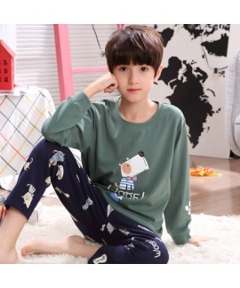 long sleeves Boys' cotton soft pajamas for spring comfy pj set children