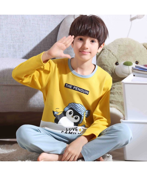 long sleeves Boys' cotton soft pajamas for spring ...