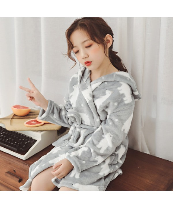 Soft Children's pajamas 2018 for spring cheap boys and girls flannel pajama set with robe