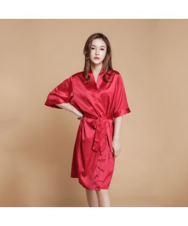 Silk Simulated Pure color Bridesmaid pj sets for w...
