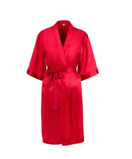 Silk Simulated Pure color Bridesmaid pj sets for wedding New Sexy Slim Bathrobe for women