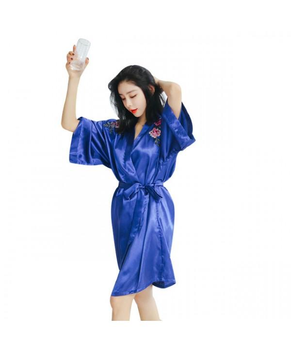 Peony embroidered bridemaid pj sets for spring cardigan silk bathrobe for wedding