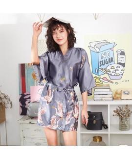 2019 New Comfy morning pj sets for women Crane printed Bridesmaid's Ice Silk Slim Sexy Sleepwear